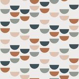 Abstract geometric background with semi circles and circles. Seamless pattern in scandinavian style. Vector wallpaper royalty free illustration