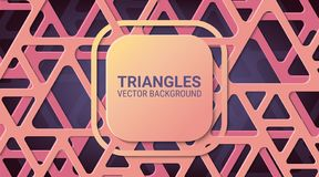 Abstract geometric background. Soft rose colors. Triangles with rounded corners. stock illustration