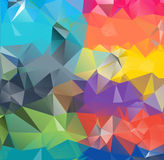 Abstract geometric background space. Abstract geometric background version 8. Multicolored triangles. Beautiful inscription. Triangle background with bright stock illustration