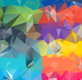Abstract geometric background space. Abstract geometric background version 9. Multicolored triangles. Beautiful inscription. Triangle background with bright vector illustration