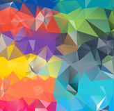 Abstract geometric background space. Abstract geometric background version 10. Multicolored triangles. Beautiful inscription. Triangle background with bright stock illustration