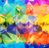 Abstract geometric background space. Abstract geometric background version 6. Multicolored triangles. Beautiful inscription. Triangle background with bright stock illustration
