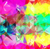 Abstract geometric background space. Abstract geometric background version 17. Multicolored triangles. Beautiful inscription. Triangle background with bright vector illustration