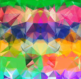 Abstract geometric background space. Abstract geometric background version. Multicolored triangles. Beautiful inscription. Triangle background with bright lines stock illustration