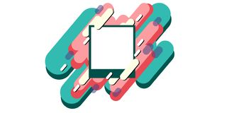 Abstract geometric background from strips. Dynamic modern background with a square white frame in the center. Vector illustration royalty free illustration