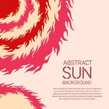 Abstract geometric background with sun theme. Flaming circles. Stylized suns. Creative universal design template for banner, poster, book, booklet, brochure Royalty Free Stock Photo