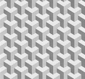Abstract geometric background with three-dimensional cubes styli. Zed under halftone. Seamless vector pattern. Figures filled with dots. Even monochrome royalty free illustration
