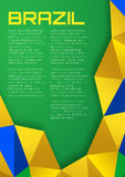 Abstract geometric background using Brazil flag colors 2016, A4 format. Stock Photo