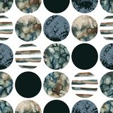 Circles with water color marbling, grained, grunge, paper textures. Abstract geometric background. Water color marble painting. Watercolor circle seamless royalty free illustration
