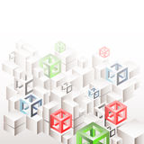 Abstract geometric background with white cubes and frames Stock Photography