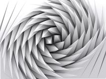 Abstract geometric background, white 3d art. Abstract geometric background, white parametric triangular shapes, swirl pattern, 3d render illustration stock illustration