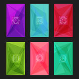 Abstract geometric backgrounds with monograms. Letters A-F. Collection of trendy geometric triangular backgrounds with letter monograms A, B, C, D, E, F Royalty Free Stock Images