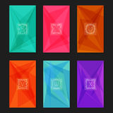 Abstract geometric backgrounds with monograms. Letters S-X. Collection of trendy geometric triangular backgrounds with letter monograms S, T, U, V, W, X Royalty Free Stock Photo