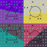 Abstract geometric backgrounds set with symbols. Royalty Free Stock Photography