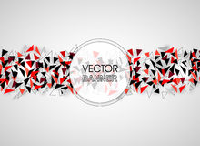 Abstract geometric banner. Technical Polygonal background with shadow. Black, Red and White Vector illustration. For your design Stock Image