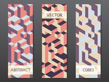 Abstract geometric banner templates. Abstract modern polygonal banner templates with colorful isometric cubes patterns, vertical format Stock Photo