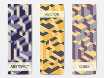 Abstract geometric banner templates. Abstract modern polygonal banner templates with colorful isometric cubes patterns, vertical format Royalty Free Stock Photos