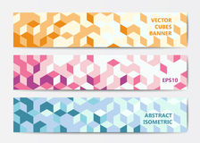 Abstract geometric banner templates. Abstract polygonal banner templates with colorful isometric cubes patterns Stock Photo