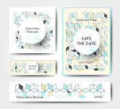 Abstract geometric banner templates. Vector modern polygonal templates with colorful isometric cubes patterns, postcard and flyer geometric design Stock Photography