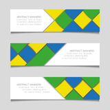 Abstract geometric banners in Brazil flag colors Royalty Free Stock Photos