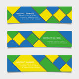 Abstract geometric banners in Brazil flag colors Royalty Free Stock Photo
