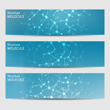 Abstract geometric banners molecule and communication. Science and technology design, structure DNA, chemistry, medical Royalty Free Stock Image