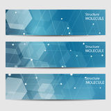 Abstract geometric banners molecule and communication. Science and technology design, structure DNA, chemistry, medical Stock Photo