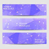 Abstract geometric banners molecule and communication. Science and technology design, structure DNA, chemistry, medical Royalty Free Stock Photography
