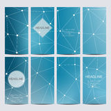 Abstract geometric banners molecule and communication. Science and technology design, structure DNA, chemistry, medical. Background, business and website