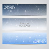 Abstract geometric banners molecule and communication. Science and technology design, structure DNA, chemistry, medical Stock Photos
