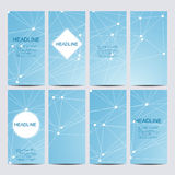 Abstract geometric banners molecule and communication. Science and technology design, structure DNA, chemistry, medical Stock Photography