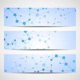 Abstract geometric banners molecule and communication. Stock Photo