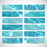 Abstract geometric banners molecule and communication. Royalty Free Stock Photos