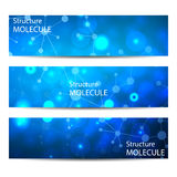 Abstract geometric banners molecule and communication. Science and technology design, structure DNA, chemistry, medical Stock Images