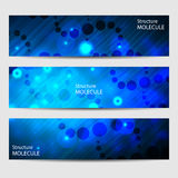 Abstract geometric banners molecule and communication. Science and technology design, structure DNA, chemistry, medical Royalty Free Stock Photo