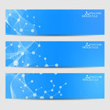 Abstract geometric banners molecule and communication. Science and technology design, structure DNA, chemistry, medical Stock Image