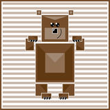 Abstract geometric bear. Illustration of abstract geometric bear on the striped background Royalty Free Stock Photos