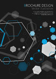 Abstract geometric black hexagon background. Vector illustration Stock Images