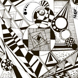 Abstract geometric black-and-white background. Vector. Abstract black and white geometric pattern with lines, circles, hatches, triangles, rings. Vector vector illustration