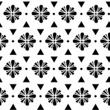 Abstract geometric black and white flowers seamless vector pattern background illustration Stock Photography