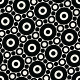 Abstract geometric black and white graphic design print circles pattern. Background stock illustration