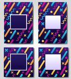 Vector set of blue abstract geometric, retro,memphis frame,banner,greeting card of different colors with shapes Stock Photo