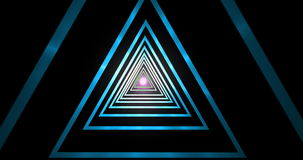 Abstract geometric blue gradient triangle tunnel hypnotic spiral, with light point on black background, computer 3d render stock video footage