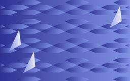 Racing in sailing boats. Abstract geometric blue pattern of rhombuses and triangles symbolize a sailing regatta on the sea Stock Image