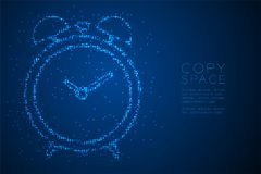 Abstract Geometric Bokeh circle dot pixel pattern Alarm clock shape, digital reminder concept design blue color illustration. Isolated on blue gradient royalty free illustration
