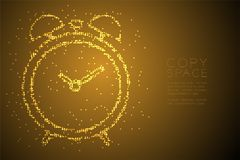 Abstract Geometric Bokeh circle dot pixel pattern Alarm clock shape, digital reminder concept design gold color illustration. Isolated on brown gradient vector illustration
