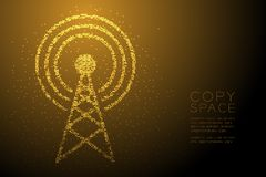 Abstract Geometric Bokeh circle dot pixel pattern Antenna tower shape, Broadcast telecommunication concept design gold color illus. Tration isolated on brown royalty free illustration