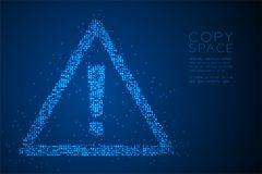 Abstract Geometric Bokeh circle dot pixel pattern Attention sign triangle shape, safety first concept design blue color illustrati. On isolated on blue gradient Stock Images