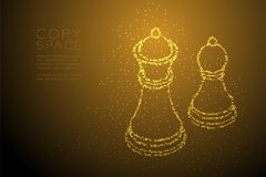 Abstract Geometric Bokeh circle dot pixel pattern Chess King and pawn shape, Business strategy concept design gold color illustrat. Ion isolated on brown Royalty Free Stock Image