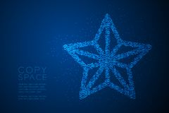 Abstract Geometric Bokeh circle dot pixel pattern Christmas star shape, Happy New Year celebration concept design blue color illus. Tration isolated on blue stock illustration